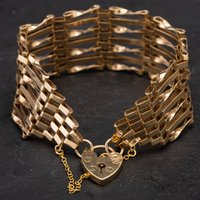 """Pre-Owned 9ct Yellow Gold 7"""" 7 Bar Gate Bracelet 4153270"""