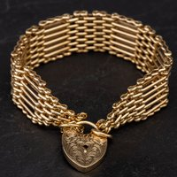 Pre-Owned 9ct Yellow Gold 7.5 Inch 7 Bar Gate Bracelet 4153283