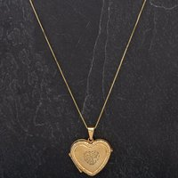 Pre-Owned Gold Colour Engraved Heart Locket with 9ct Yellow Gold 18
