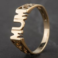 Pre-Owned 9ct Yellow Gold MUM with Fancy Shoulders Ring 4157933
