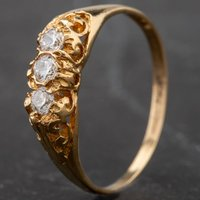 Pre-Owned 9ct Yellow Gold Childrens Cubic Zirconia Three Stone Ring 4157955