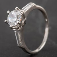 Pre-Owned 9ct White Gold Cubic Zirconia Solitaire Ring 4163156