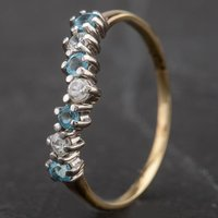 Pre-Owned 9ct Yellow Gold Cubic Zirconia and Blue Topaz Half Eternity Wishbone Ring 4163841