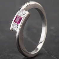 Pre-Owned 9ct White Gold Ruby and Cubic Zirconia 3 Stone Twist Ring 4163938