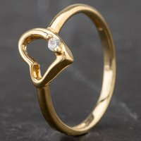 Pre-Owned 9ct Yellow Gold Childrens Open Heart Cubic Zirconia Signet Ring 4163941