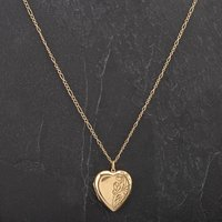 Pre-Owned 9ct White Gold Half Engraved Heart Locket On 18
