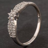 Pre-Owned 9ct White Gold Diamond Cluster Ribbon Style Ring 4167047