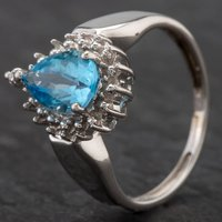 Pre-Owned 9ct White Gold Blue Topaz and Diamond Pear Cluster Ring