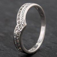 Pre-Owned 9ct White Gold Diamond 2 Row 1/2 Wishbone Ring