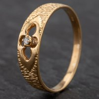 Pre-Owned 9ct Yellow Gold Diamond Set Fancy Bark Effect Dress Ring