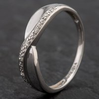 Pre-Owned 9ct White Gold Diamond Cross Over 1/2 Eternity Ring