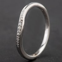 Pre-Owned 9ct White Gold Diamond Set Half Wishbone Ring 4167297