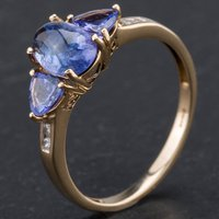 Pre-Owned 9ct Yellow Gold Cabochon Cut Tanzanite Diamond Channel Set Ring 4167330