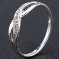 Pre-Owned 9ct White Gold Brilliant Cut Diamond Open Work Crossover Ring 4167351