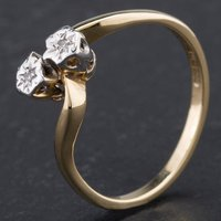 Pre-Owned 9ct Yellow Gold Brilliant Cut Diamond Crossover Twist Dress Ring 4167353