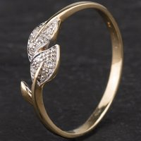 Pre-Owned 9ct Yellow Gold Diamond Leaf Ring 4167436