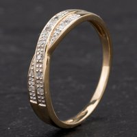 Pre-Owned 9ct Yellow Gold Diamond Crossover Half Eternity Ring 4167438