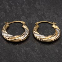 Pre-Owned 9ct Two Colour Gold Creole Earrings 4183237