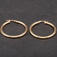 Pre-Owned 9ct Yellow Gold Plain Round Hoop Earrings 4183904