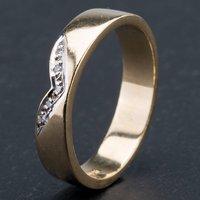 Pre-Owned 9ct Yellow Gold V-Shape Diamond Set 4mm Wedding Ring 4187102