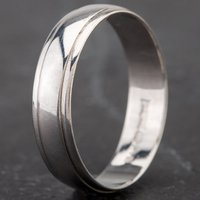 Pre-Owned 9ct White Gold 4mm Lined Edge Wedding Band Ring 4187787