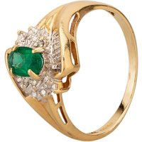Pre-owned 9ct Yellow Gold Diamond and Synthetic Emerald Cluster Ring 4311957