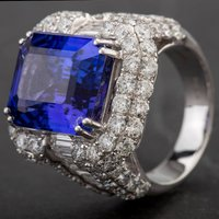 Pre-Owned 18ct White Gold Large Tanzanite and Diamond Ring 4312275