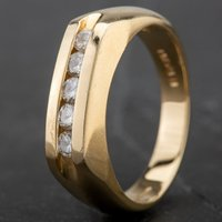Pre-Owned 9ct Yellow Gold 5 Stone Diamond Signet Ring 4312392