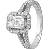 Pre-Owned Platinum 1.05ct Emerald Cut Diamond Halo Cluster Ring GMC(114/3/6)