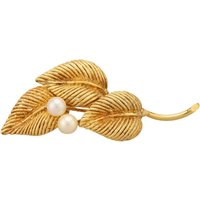 Pre-Owned 14ct Yellow Gold Pearl Set Leaf Brooch 4313096