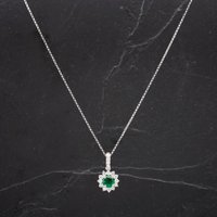 Pre-Owned 14ct White Gold Round Emerald And Brilliant Cut