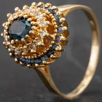 Pre-Owned 9ct Yellow Gold Diamond and Sapphire 3 Tier Oval Cluster Ring 4328090