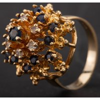 Pre-Owned 9ct Yellow Gold Sapphire and Diamond Multi Tier Cluster Ring 4328109