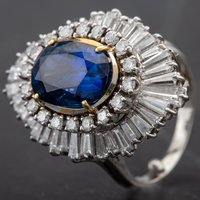 Pre-Owned 14ct White Gold Oval Sapphire 6.08ct with Diamond Cluster Ring 4328168