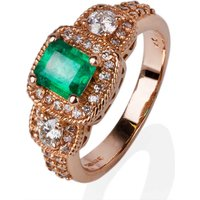Pre-Owned 14ct Rose Gold Diamond Emerald Ring 4332107