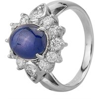 Pre-Owned Platinum Cabochon Cut Sapphire Diamond Cluster Ring 4336047