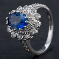 Pre-Owned 14ct White Gold Oval Sapphire and Diamond Cluster Ring 4336144