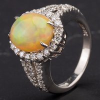 Pre-Owned 14ct White Gold Oval Cabochon Cut Opal Brilliant Cut Diamonds Ring 4338019