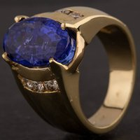 Pre-Owned Yellow Gold Tanzanite Oval Diamond Ring 4341002