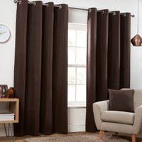 Pure Cotton Eyelet Curtains - Dark Brown / 229cm / 168cm
