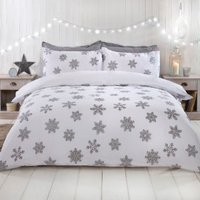 Snowflake Metallic White Duvet Cover and Pillowcase Set - Double