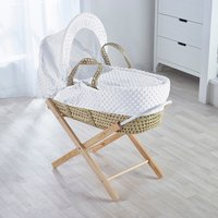 White Dimple Palm Basket with Natural Opal Folding Stand