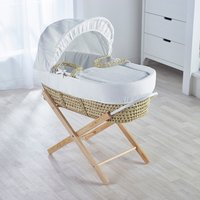 White Waffle Moses Basket with Natural Opal Folding Stand