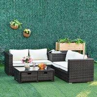 Rattan Wicker Garden Furniture Patio Sofa - Brown