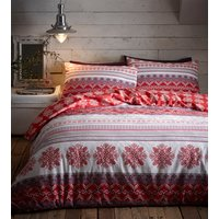 Flannelette Prague Duvet Cover and Pillowcase Set - Red / King