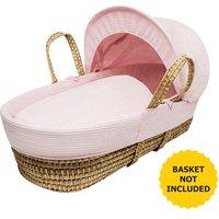 Pink Waffle Moses Basket Bedding Set