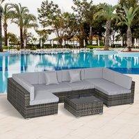 7 Piece Rattan Patio Furniture Set - Grey