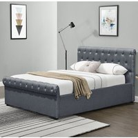 Linen Fabric Diamante Chesterfield Sleigh Bed Frame - Single