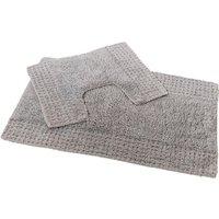 San Marino 2 Piece Cotton Bath and Pedestal Mat Set - Grey