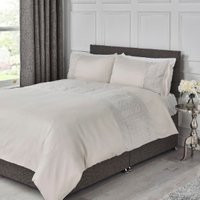 Crosshatch Embossed Panel Duvet Cover and Pillowcase Set - Natural / Super King
